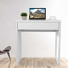 Computer Table, White Computer Desk with Drawer