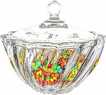 ComSaf Glass Candy Sweet Jar with Lid, Crystal Bon