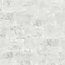 Concrete Brick Effect Wallpaper Light Grey Silver