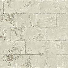 Concrete Brick Effect Wallpaper Natural Cream