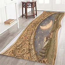 CONICIXI Long Floor Mat,Retro Moon Sun Clock