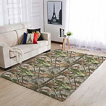 Conifer Camouflage Area Rug Patterned Puffy