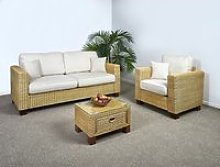 Conservatory Wicker 3 Seater Sofa Set - 1x Sofa,