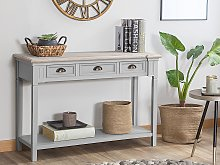 Console Table Grey Manufactured Wood 3 Drawers