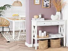 Console Table White 2 Drawers Hallway Furniture 80