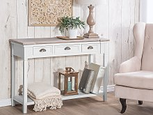 Console Table White Manufactured Wood 3 Drawers