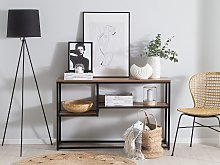 Console Table with 2 Shelves Dark Wood with Black