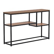 Console Table with 2 Shelves Industrial Living Room Dark Wood with Black Belmont