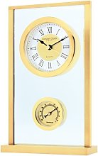 Contemporary Brass Finish Mantle Clock Thermometer