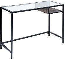 Contemporary Computer Desk Metal Frame Glass Top