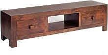 Contemporary Dark Walnut Solid Wood TV Media