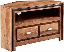 Contemporary Natural Solid Wood Corner TV Media