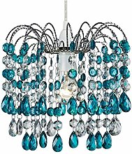 Contemporary Pendant Shade with Teal Acrylic