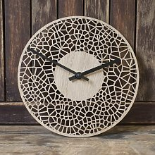 Contemporary small CELL CLOCK (20cm) - real wood