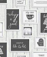 Contour Framed Kitchen Quotes Black & White