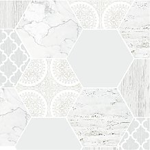 Contour Hexagonal Marble Grey Wallpaper