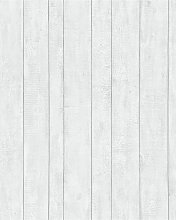 Contour White Plank Wallpaper