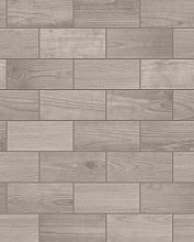 Contour Wooden Tile Brown Wallpaper