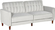 Convertible Sofa Futon Velvet-Touch Tufted Couch