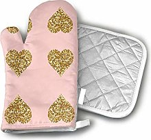 Cooking Gloves and Potholders,Gold Glitter Hearts