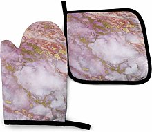 Cooking Gloves and Potholders,Pink Gold Marble
