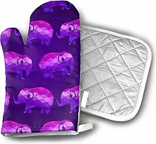 Cooking Gloves and Potholders,Purple Elephants