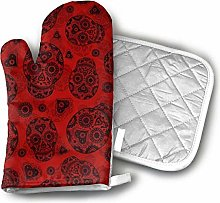 Cooking Gloves and Potholders,Red and Black Sugar