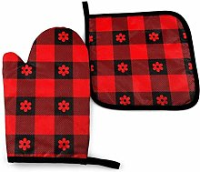 Cooking Gloves and Potholders,Red Black Plaid