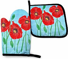 Cooking Gloves and Potholders,Red Poppy Flower