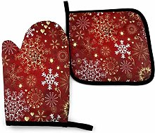 Cooking Gloves and Potholders,Red Snowflake