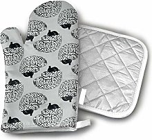 Cooking Gloves and Potholders,Unique Design Gray