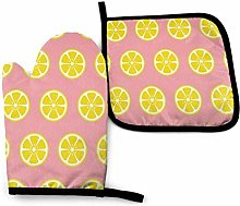 Cooking Gloves and Potholders,Yellow Lemon Pink