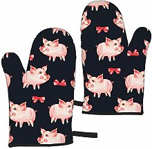 Cooking Gloves Cute Piggy Red Bow Animal Pig