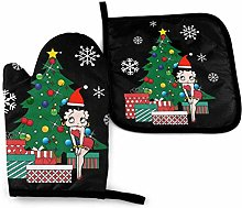 Cooking Mitts Set,Betty Boop Around The Christmas