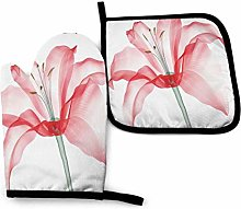 Cooking Mitts Set,Pink Lily Flowers Oven Gloves