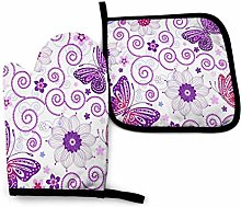 Cooking Mitts Set,Pink Purple Flowers Floral