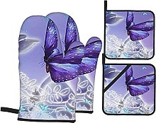 Cooking Mitts Set,Purple Beautiful Butterflys