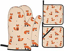 Cooking Mitts Set,Red Fox Oven Mitts and Pot