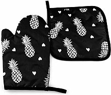 Cooking Mitts Set,White Hearts Pineapples Black
