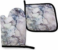 Cooking Mitts Set,White Purple Marble Cooking