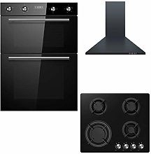 Cookology Black Built-in Double Oven, Gas-on-Glass