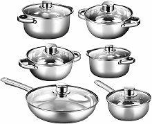 Cookware Set, 6 Pieces Stainless Steel Pots and