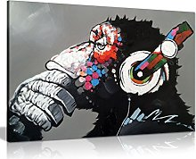 Cool Ape With Dj Heaphones Canvas Wall Art Picture