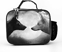 Cool Bag White Black Monochrome Moon Wolf Lunch