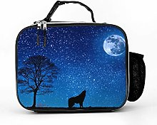 Cool Bag Wolf Howling Moon Galaxy Lunch Bag Picnic