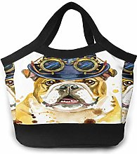Cool Bulldog with Glasses Women Portable Lunch Bag
