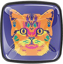 Cool Cat 4pcs Colorful Crystal Glass Cupboard