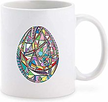 Cool Geometric Abstract Pattern Egg Cartoon Coffee