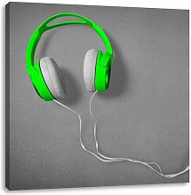 Cool Green Headphones Photographic Print on Canvas