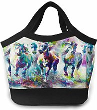 Cool Horse Oil Painting Women Portable Lunch Bag
